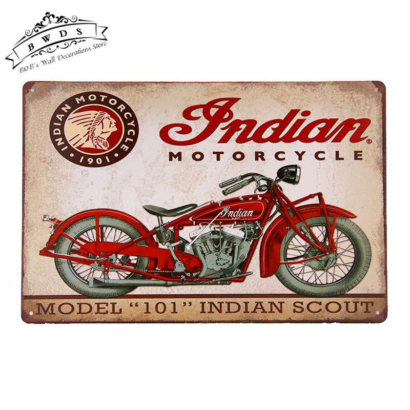"Metal/Tin Signs "" Indian Motorcycle"" Model 101 Art Poster Garage Pub Bar Home Wall Decor Man Cave(China (Mainland))"