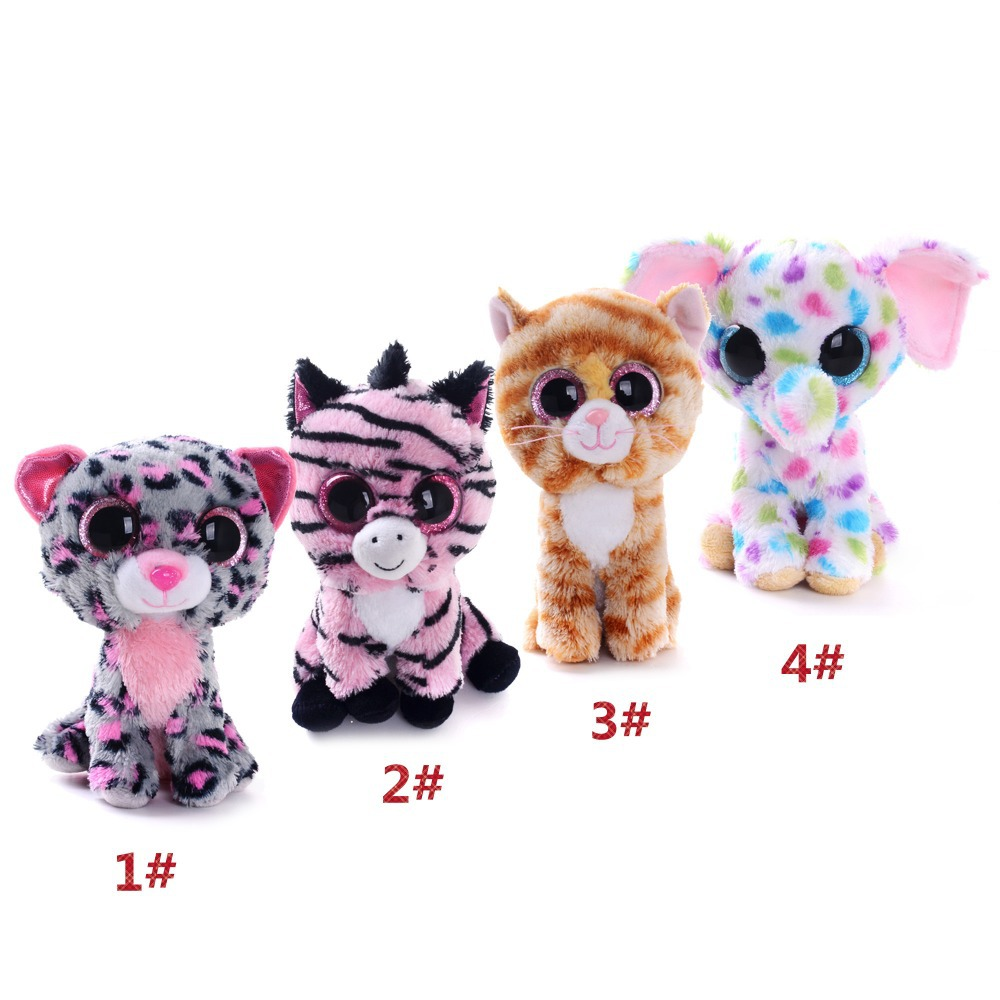 Free Shipping 5'' Original TY Collection MAGIC Cat Zebra Leopard Elephant Plush Toys Kids Small Cute Stuffed Animal Doll Toys(China (Mainland))
