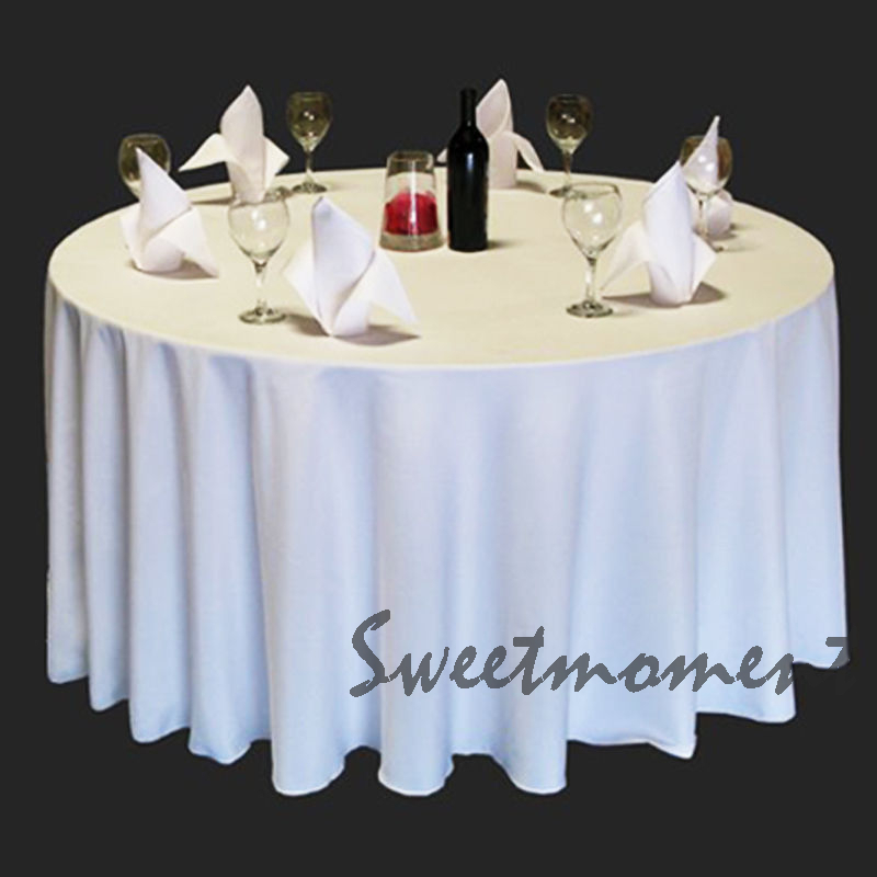 10 cheap 100% Polyester White Table cloth in 300cm Round Good Quality Tablecloths for Wedding Sturdy Banquet Table cover(China (Mainland))