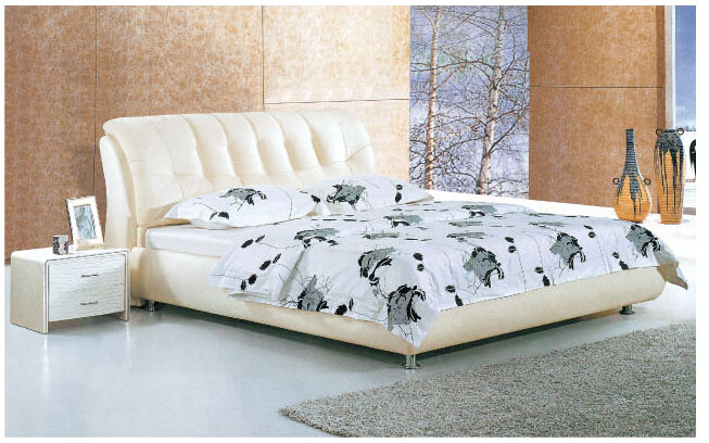 European Modern Bedroom Leather Bed 8225 # |Lizz Bed oak solid wood bedroom furniture leather bed large soft bed(China (Mainland))