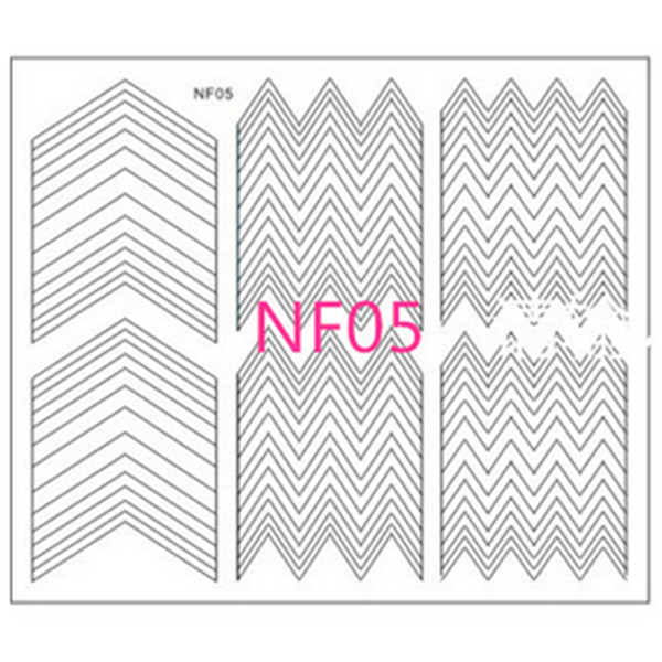 1 Sheet Tip Guides Nail French Manicure Edge Tip Triangle Wave Pattern Design Guides Nail Art Toes Tips(China (Mainland))