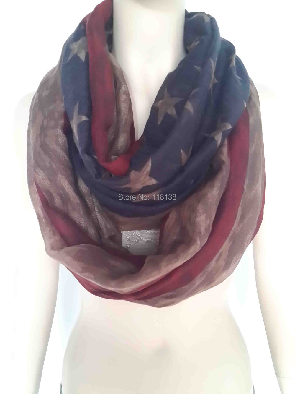 Vintage American Flag Print Infinity Loop Scarf Women's Accessories Gift for Her, Free Shipping(China (Mainland))
