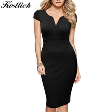 Buy Kostlish Brand 2017 Women Summer Dress Sexy V-Neck Short Sleeve Slim OL Office Dress Women Elegant LadiesPencil Dresses Sundress for $15.12 in AliExpress store