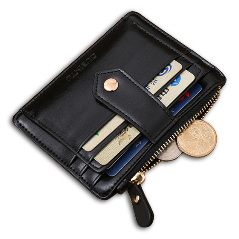 Quality Assurance genuine pu leater card wallet with zipper pocket casual small wallet mini pure hasp credit card holder MQB-094(China (Mainland))