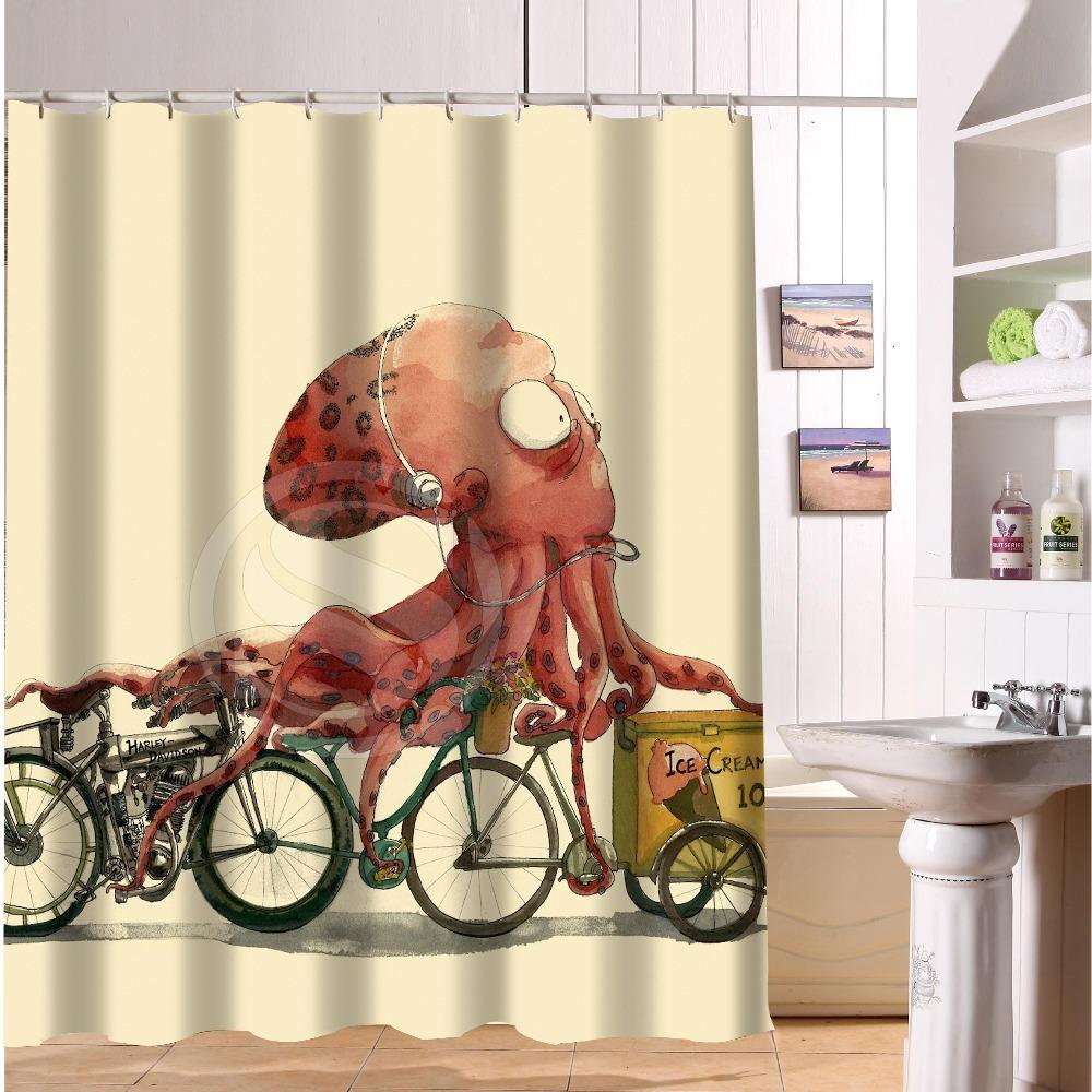 Bad wasserdicht moderne duschvorhang drucken kunst vintage octopus bad