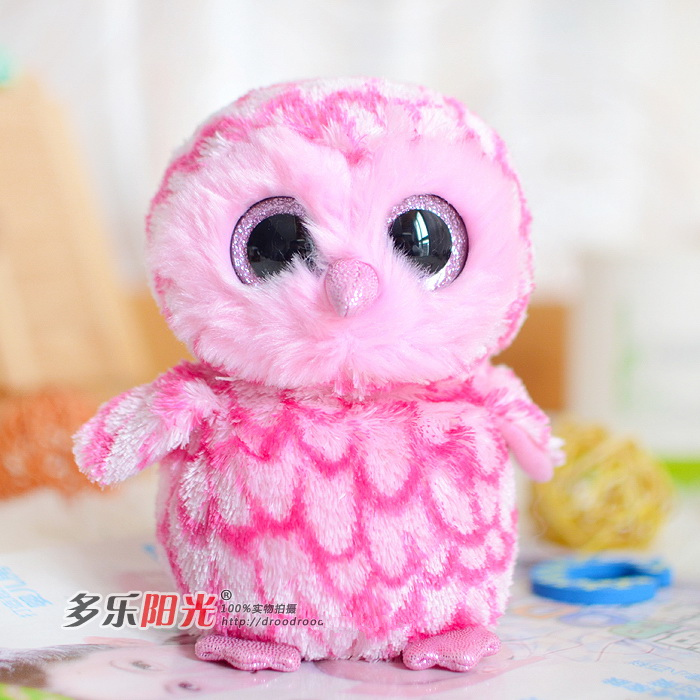 Ty big eyes new 2015 colorful owl plush toy doll gift Lovely Children's toys gifts kawaii pink Stuffed Animals cute plush toys(China (Mainland))