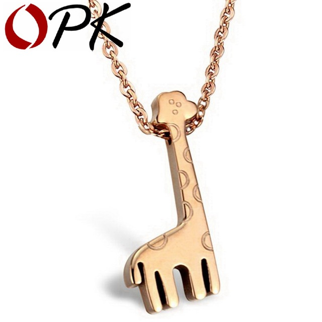 OPK JEWELRY   18K  Gold plated necklace giraffe jewelry Stainless steel Pendant 772