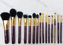 Jessup Pro 15pcs Makeup Brushes Set Powder Foundation Eyeshadow Concealer Eyeliner Lip Brush Tool Purple/Gold(China (Mainland))