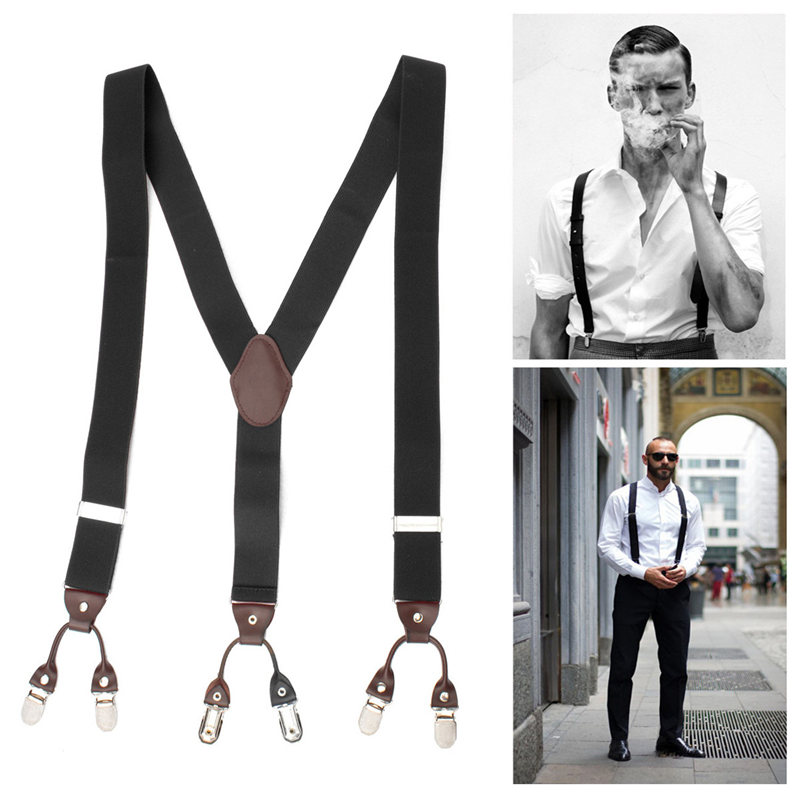 Suspenders Other than the classic X-back and Y-back braces, more sophisticated styles have straps that wrap around the waist, creating innovative designs. Whether they are slim, leather, colored, elasticized, with a clip buckle, or with buttons, braces makes every outfit unique.