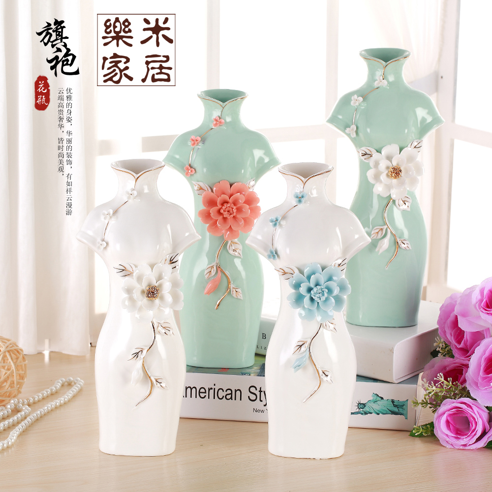 Creative chinese cheongsam style ceramic vase wedding for Aana decoration wedding accessories
