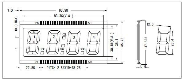 7-сегментный ЖК 4 цифры tn lcd панели eds816