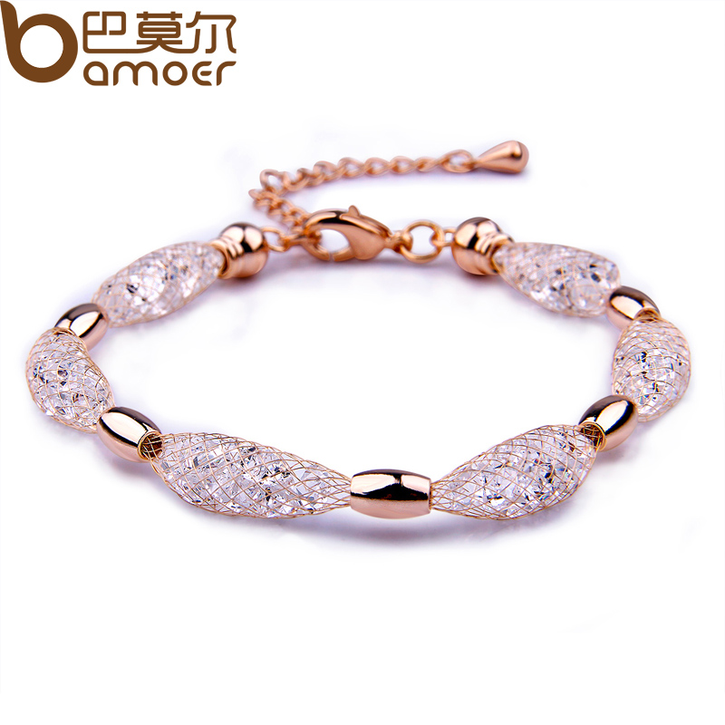 BAMOER 2015 Hot Sell 18K Rose Gold Plated Crystal Chain Bracelet for Women Luxury High Quality Jewelry JSB017(China (Mainland))