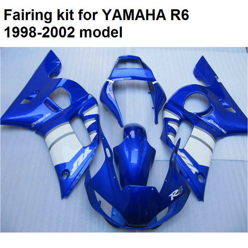 ABS plastic fairing kit Yamaha YZFR6 1998 1999-2002 blue white fairings set YZF R6 98 99 00 01 02 YO42
