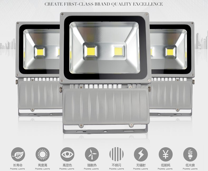 AC85-265V 100w 150w 200W LED Floodlight outdoor lamp Waterproof IP65 Warm/Cool White  20000LM(China (Mainland))