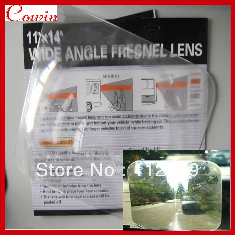 Free ship Large 11x14 inch WIDE ANGLE REAR view WINDOW OPTICAL FRESNEL Lens blind spot angle mirror sticker enlarge view angle(China (Mainland))