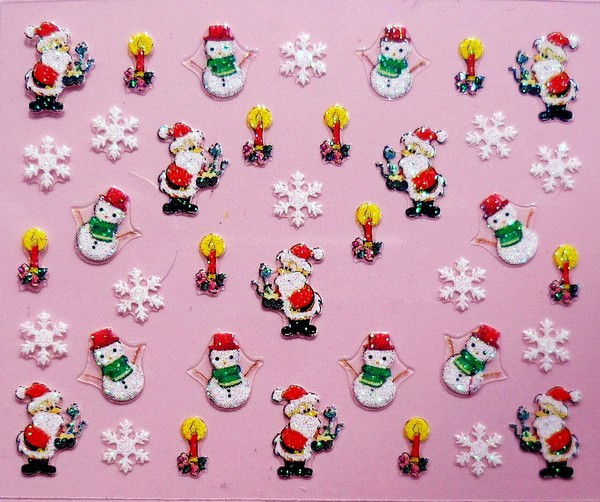 Min.order is $5 Nail Art Stickers Decal Christmas Santa Xmas Cute Snowman Snow Flakes Design Foils Stamping Tools(China (Mainland))