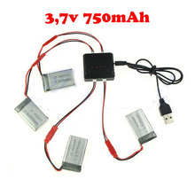 4 X 3.7V 750MAH Battery + charger spare part for MJX X400 X300 rc RC Quadcopter