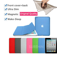 Nice matte hard & clear soft tpu silicone back case+leather magnetic smart cover for apple ipad air 2 case cover 6 thin slim(China (Mainland))