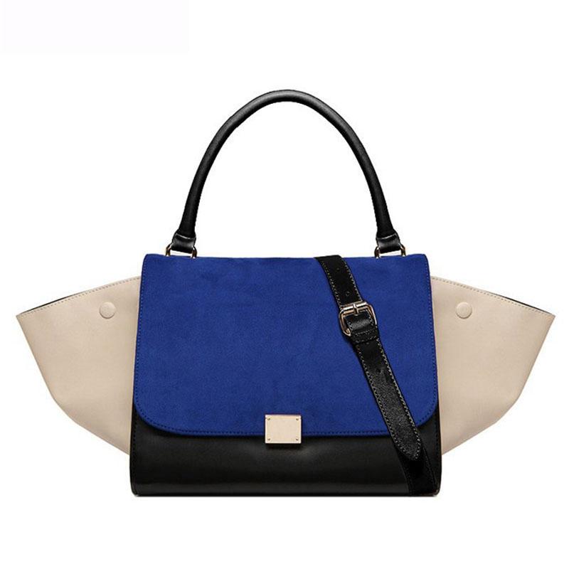 2015 Hot Women Designer Tote Fashion Trapeze Smiley Swing Bag Tricolor Celebrity Handbag Shoulder Bag sac a main femme de marque(China (Mainland))