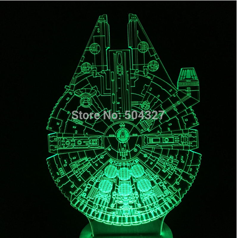 Holiday Lamp 3D Bulbing Light Gear shape Millennium Falcon Star Wars Light Color Changing LED Night Light FS-2935(China (Mainland))