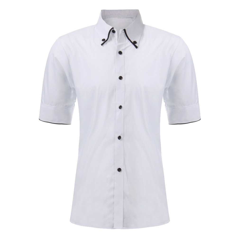 New 2015 Mens Summer Stylish Slim Casual Shirt Tops Male Short Sleeve Leisure Dress Shirts Camisa Masculina Black White L-XXL