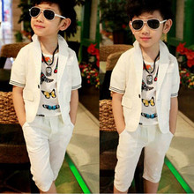 Buy Korean Children Boy Clothing Sets Spring Autumn Fashion Boys Suits Cotton White Short Sleeve Blazer Coat+Pant Suit Kids 2pcs Set for $17.18 in AliExpress store