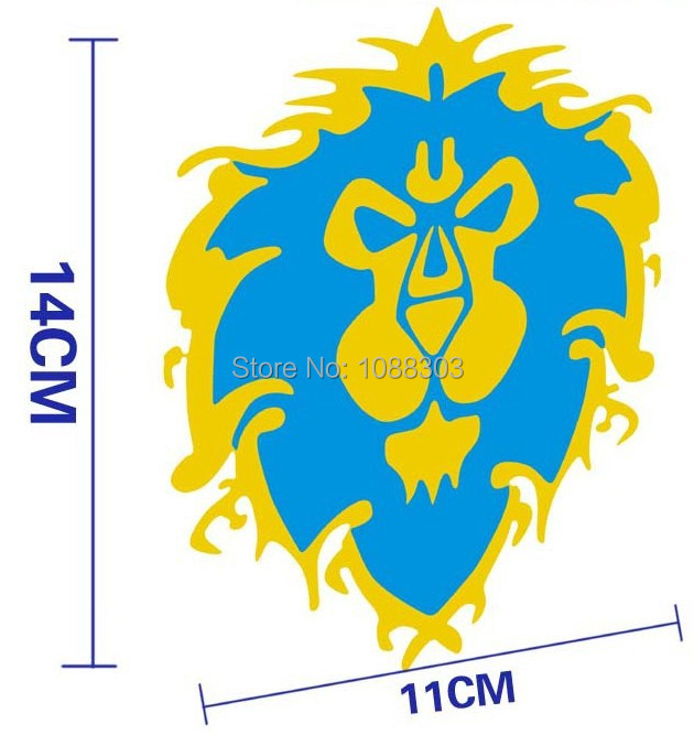 14x11 COOL Lion auto Sticker Decals Blue yellow high quality waterproof funny lion car sticker for mini toyota chevrolet cruze(China (Mainland))