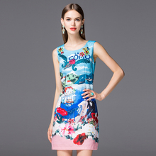 HIGH QUALITY New 2016 Spring Summer Fashion Women's Sleeveless Beading Sicily Romantic Lover Floral Printed Runway Tank Dress(China (Mainland))
