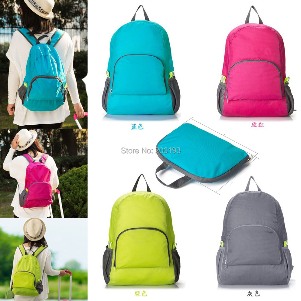 Best Price 1piece The portable Zipper Soild Nylon Daily Traveling Backpacks Shoulder bags Folding bag(China (Mainland))