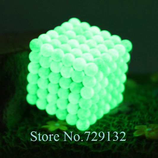 Free shipping 5mm Buckyballs Magnetic balls Neocube Magic cube Magnet Puzzle (Glow in the dark, Round tin box)(China (Mainland))