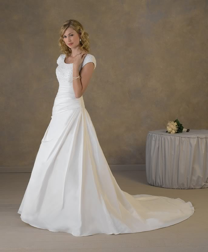 Simple design cap sleeves appliqued satin a line wedding for Customize my wedding dress