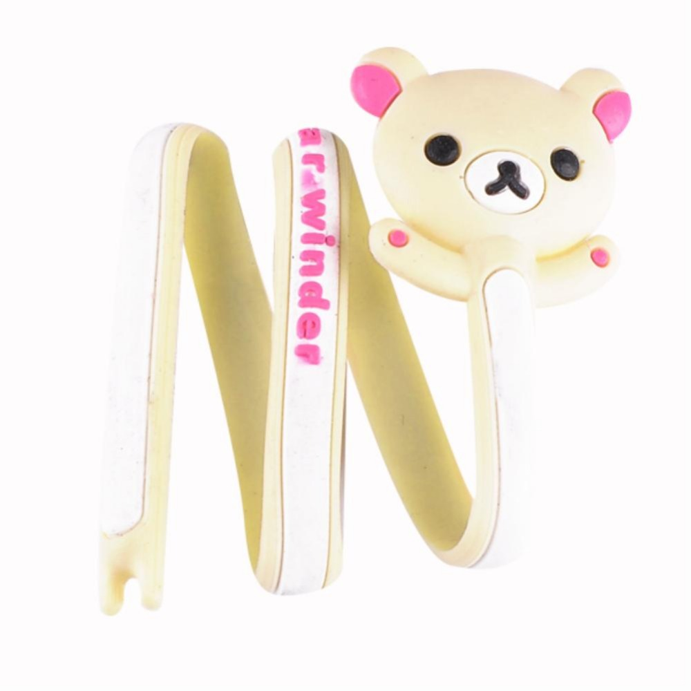 Earphone Cable Computer PC Wire Cord Wrap Management Cute Beige Bear Organizer EQA616(China (Mainland))