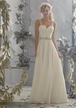 Rhinestone Fashionable Wedding Dresses 2016 Pleated Sweetheart Belt Open Back Princess Bridal Gown vestido de noiva Organza