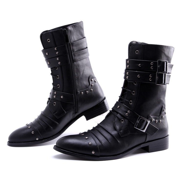 high leg boots pointed toe leather boots high rivet