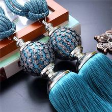 Um par de luxo decoração cortina de acessórios de cinto pendurado cortina bola cortina de borla tieback fivela(China (Mainland))