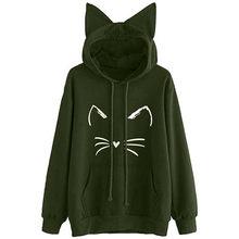 Stilvolle Bar Herbst Frauen Katze Ohr Tops Gestrickte Pullover Langarm Gedruckt Weibliche Pullover Beliebte Jumper Hohe Qualität Kleidung(China)