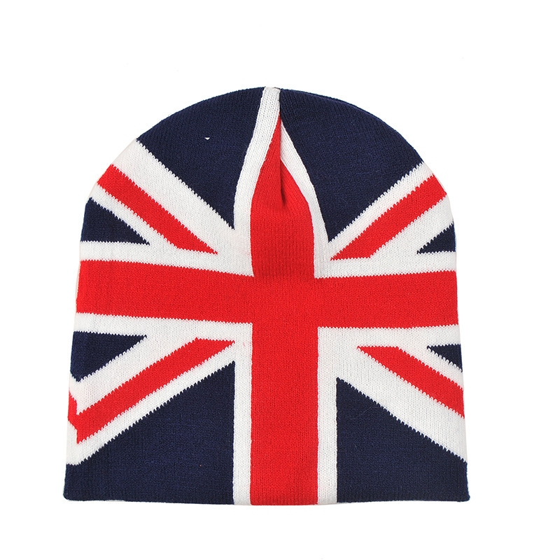 Union Jack Flag Pattern Beanie Hat Red White Navy Knit Skull Cap For Boys Girls(China (Mainland))