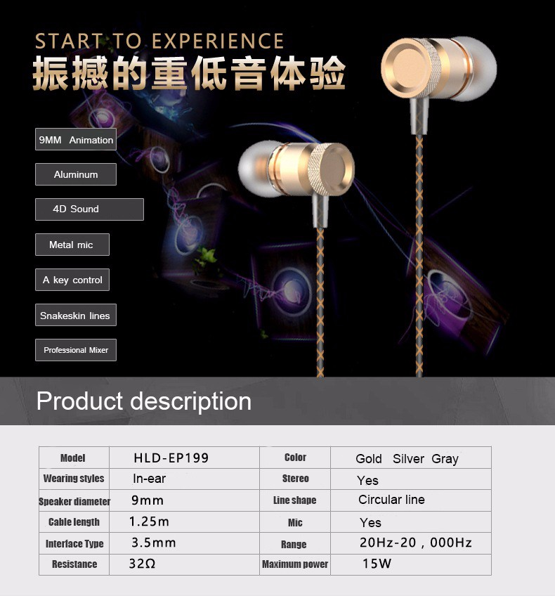 Elough Professional In-Ear Earphone For Phone Bass Headset With Micphone Metal Stereo Headphones For Computer PC Samsung Sony