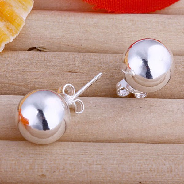 10m bead silver earring.Freeshipping silver jewelry.925 sterling silver earrings.925 earringE074