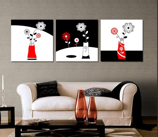 3 Piece Free Shipping Modern Wall Painting Still Life Home Decorative Art Picture Take good care of the flowers(China (Mainland))