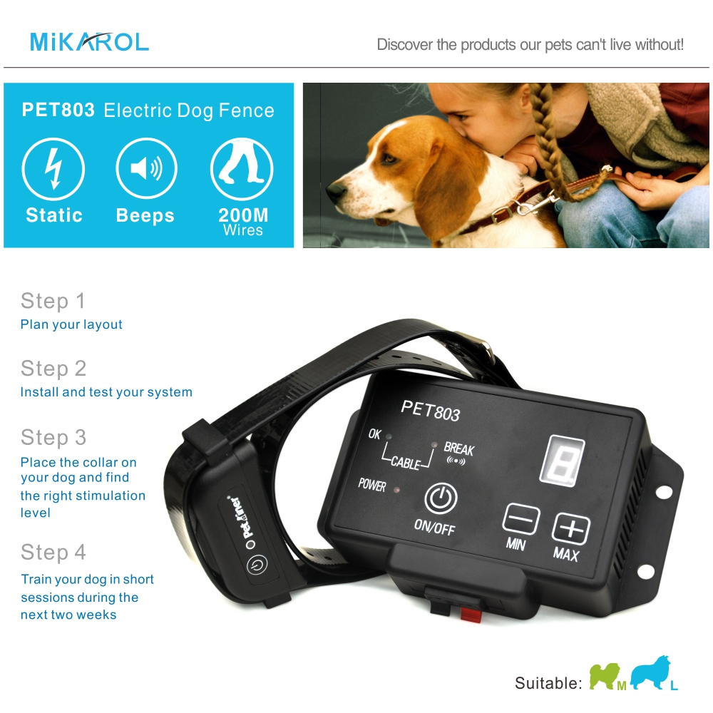 PET803 dog shock collar waterproof electronic pet fence safety dog collar electric 200m wireless invisible fence system(China (Mainland))