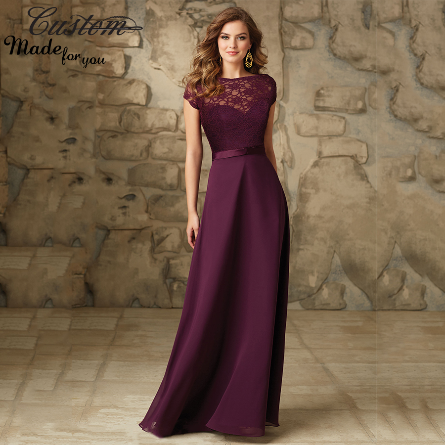 Imported wedding party dress grape chiffon floor length for Floor length gowns