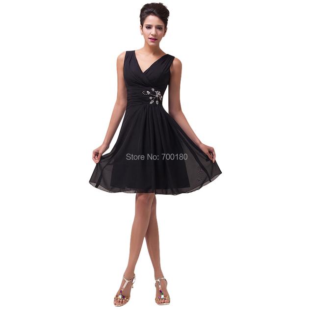 Трапециевидный элегантный женщины короткая пром платья сексуальный глубокий с v-образным ...