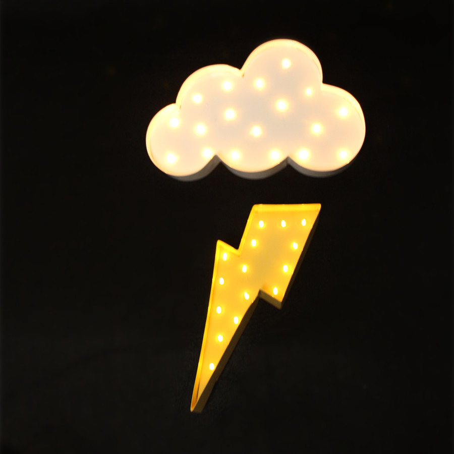 White metal Cloud lightning ray LED Marquee Sign LIGHT UP Vintage night light wall lamps Indoor Deration(China (Mainland))