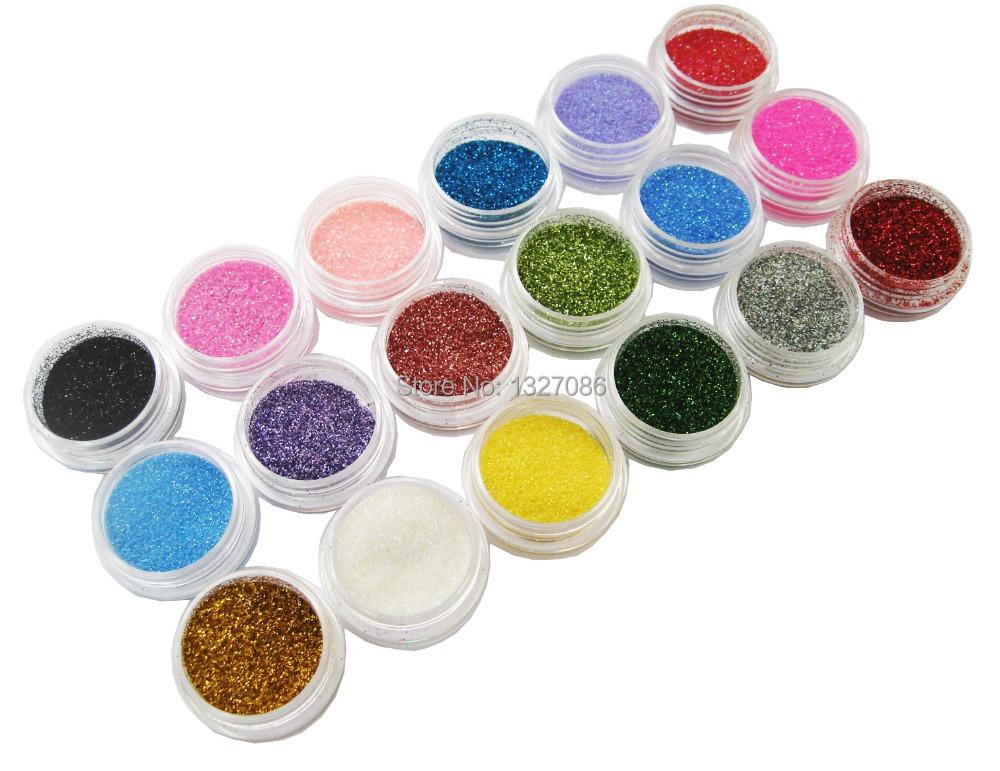18 Colors Nail Art Glitter Powder Dust For UV GEL Acrylic Powder Decoration Tips(China (Mainland))