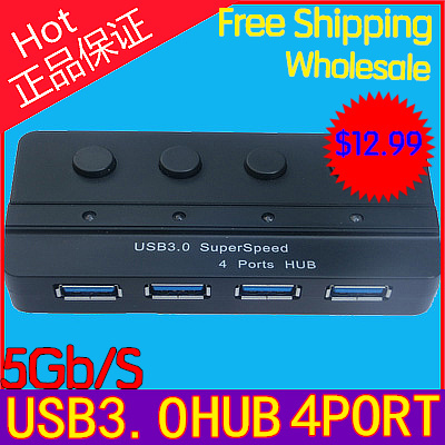 High Speed 4 Port USB 3.0 Hub Adapter LED Indicator + On/Off Switch For PC Computer Laptop 5Gb/S with usb3.0 Cable free shipiing(China (Mainland))