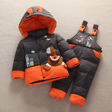 2015 Children Baby down Jacket Suit Set Toddler Down Coat+Pants Sets Boys Girls Clothing set for Winter Kids outerwear Twinset(China (Mainland))