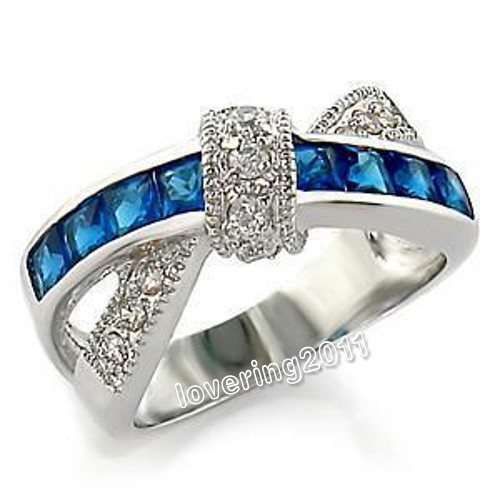 Victoria Wieck Celebrity design Size 6-10 Jewellery Nice Ladys 925 Silver Sapphire&amp;White Topaz Diamonique Ring<br><br>Aliexpress