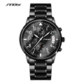 SINOBI Sports Men s Chronograph Pilots Wrist Watches Black Steel Watchband Top Luxury Brand Males Quartz