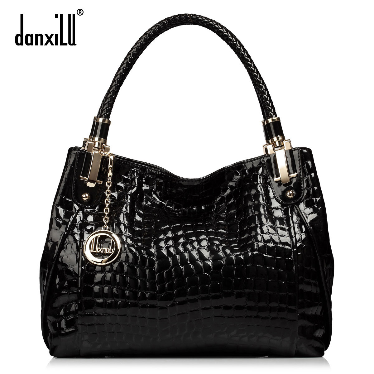 Women Handbag 2015 Fashion Genuine Leather Bag Japanned Leather Crocodile Shoulder Bags Handbags Famous Brands Casual Tote Bolsa<br><br>Aliexpress